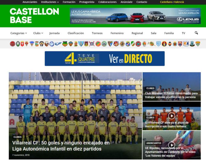 Página Web de Castellón Base con todo el Fútbol castellonbase.com +Autoadministrable +Móviles