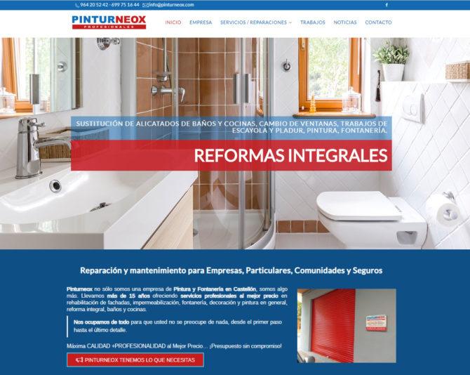 Nuevo Diseño Web de Pintores y Reformas en Castellón www.pinturneox.com +Autoadministrable +SSL+Parallax +Móviles