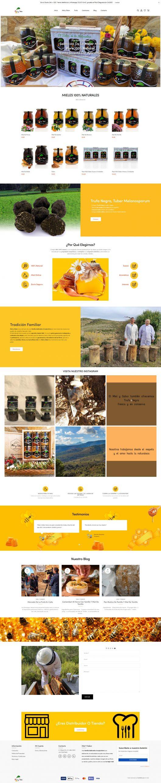 Compra Miel Artesanal Portfolio desarrollo página web en Castellón