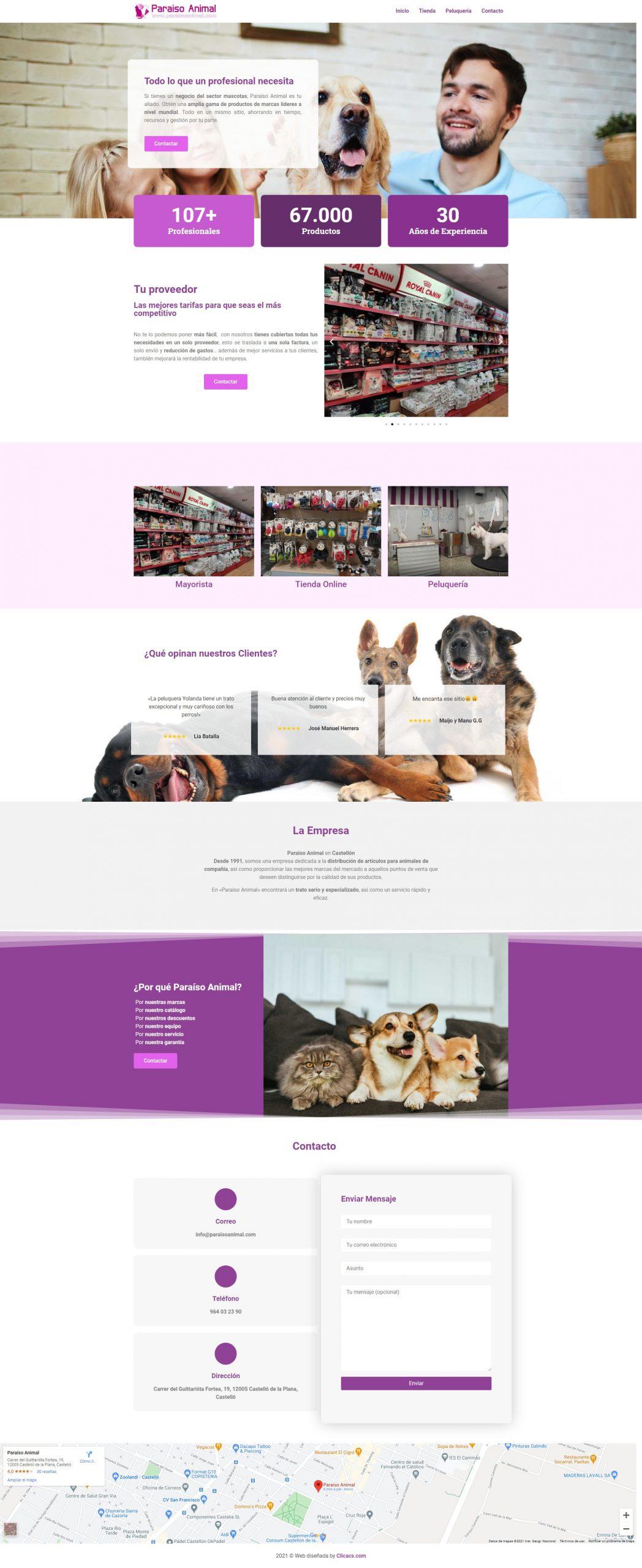 Paraíso Animal Portfolio desarrollo página web en Castellón
