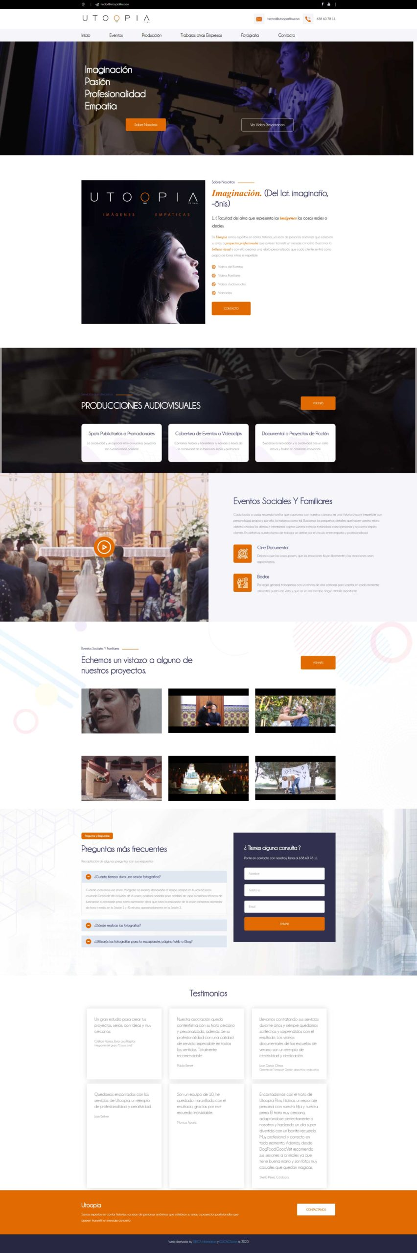 diseño de página web de utoopiafilms